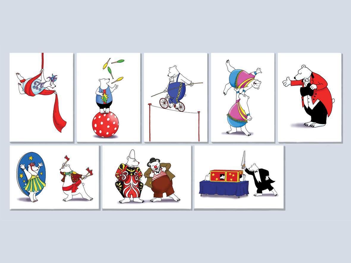 Set van 8 verschillende kaarten.